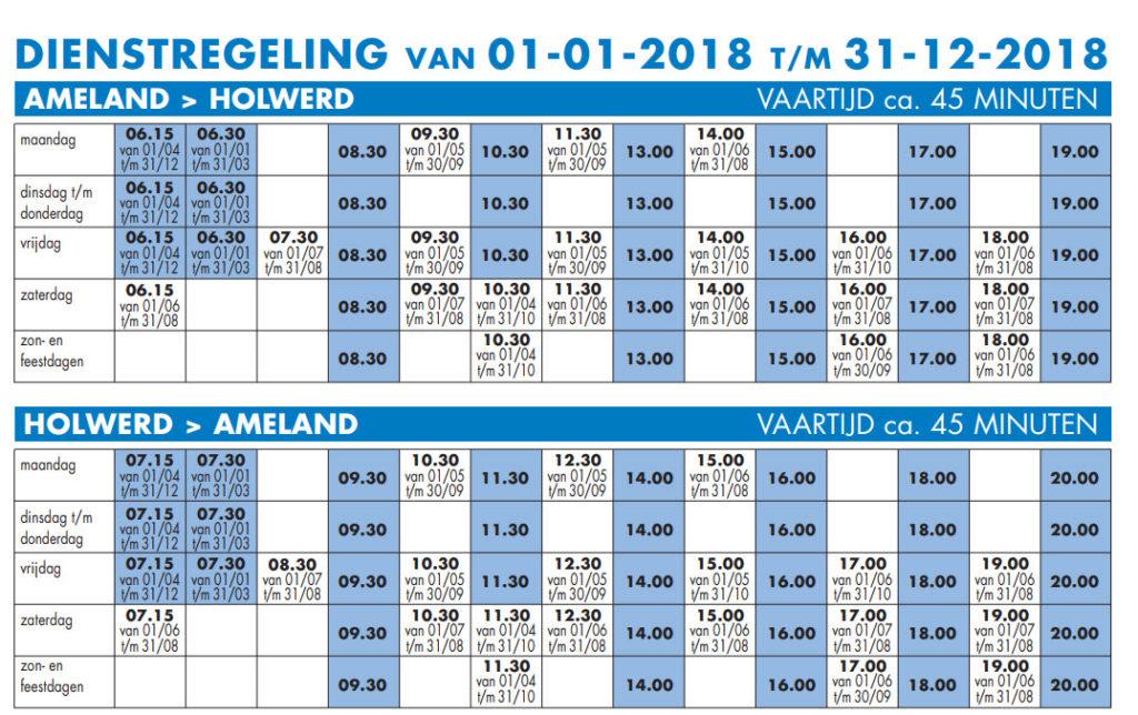 Dienstregeling Ameland 2018
